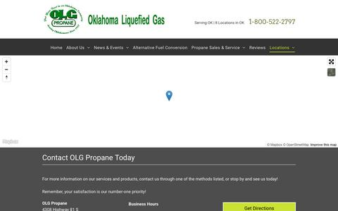 Screenshot of Contact Page Locations Page olgpropaneok.com - Contact OLG Propane | Chickasha, OK | 405-224-2441 - captured July 6, 2018