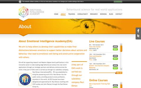 Screenshot of About Page emotional-intelligence-academy.com - About the Emotional Intelligence Training Academy - captured Sept. 29, 2014