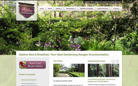 Screenshot of Home Page adeline.com.au - Beautiful Dandenong Ranges Bed & Breakfast Luxury Accommodation - captured Oct. 4, 2014