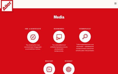 Screenshot of Press Page aller.fi - Aller media - captured Oct. 3, 2018