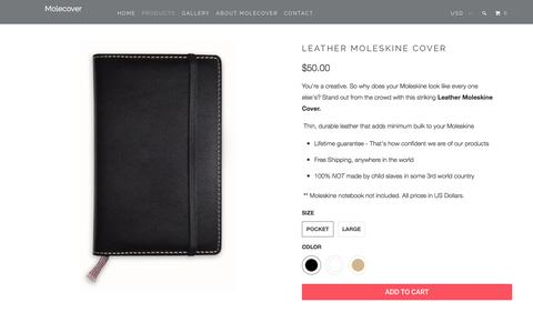 Screenshot of Products Page molecover.com - Leather Moleskine Cover - Molecover - captured Feb. 28, 2016