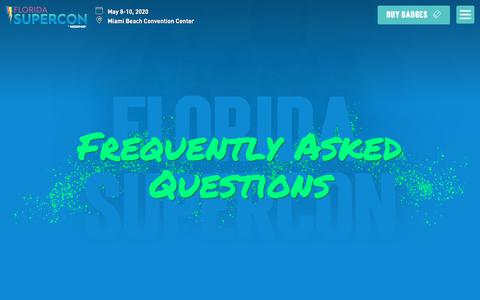 Screenshot of About Page FAQ Page floridasupercon.com - Frequently Asked Questions - Florida Supercon - captured Feb. 7, 2020