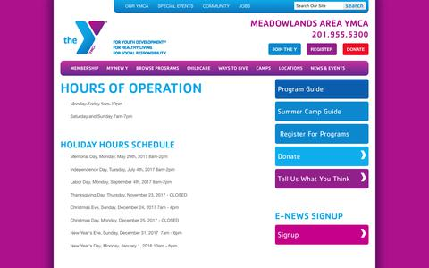 Screenshot of Hours Page meadowlandsymca.org - Hours of Operation - Meadowlands Area YMCA - captured Oct. 4, 2017
