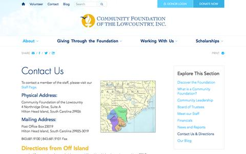 Screenshot of Contact Page Maps & Directions Page cf-lowcountry.org - Contact Us & Directions - About - Community Foundation of the Lowcountry - captured Oct. 22, 2014