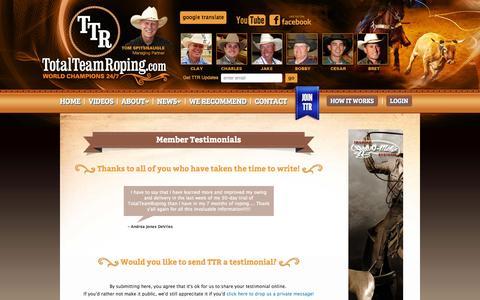 Screenshot of Testimonials Page totalteamroping.com - Send a Testimonial to TotalTeamRoping.com - captured Oct. 7, 2014