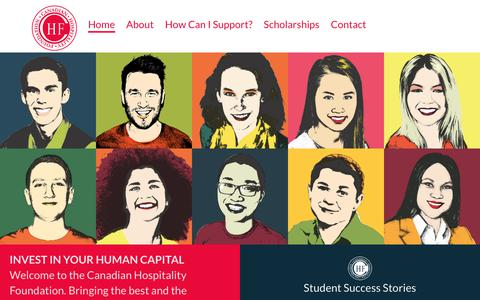 Screenshot of Home Page thechf.ca - Canadian Hospitality Foundation - captured July 12, 2017