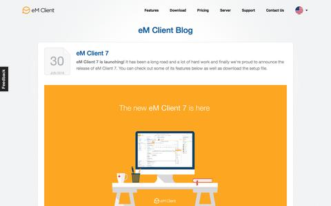 Screenshot of Blog emclient.com - The Official Blog | eM Client - captured July 19, 2016