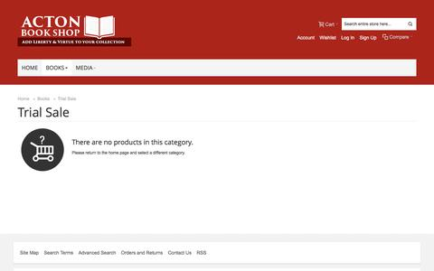 Screenshot of Trial Page acton.org - Trial Sale | Books - captured Jan. 26, 2017