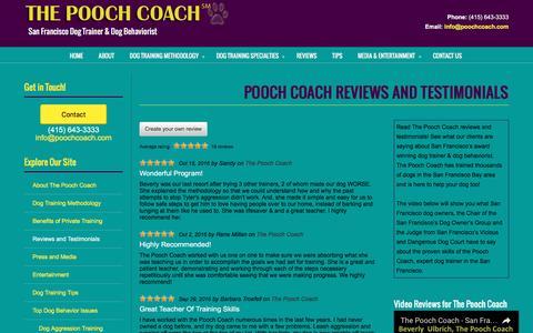 Screenshot of Testimonials Page poochcoach.com - Pooch Coach Reviews and Testimonials | San Francisco Dog Trainer - captured Dec. 22, 2016