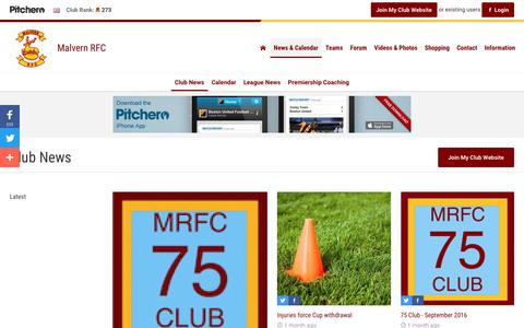 Screenshot of Press Page pitchero.com - News - Malvern RFC - captured Nov. 19, 2016