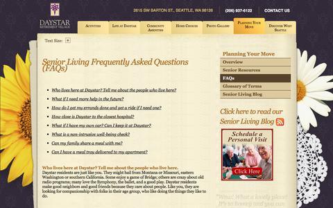 Screenshot of FAQ Page daystarseattle.com - Senior Living FAQ | Daystar Retirement Village - captured Oct. 12, 2017