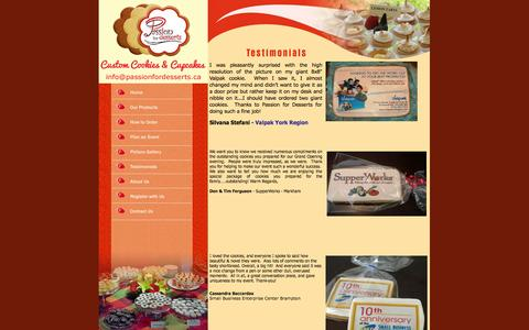 Screenshot of Testimonials Page passionfordesserts.ca - Holiday Cookies : Corporate Cookies : Wedding Cookies : Decorative Cookies :  Bomboniere Cookies : Cookie Favours : Passion For Desserts - captured Sept. 30, 2014