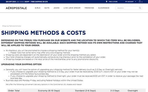 Shipping Methods & Costs