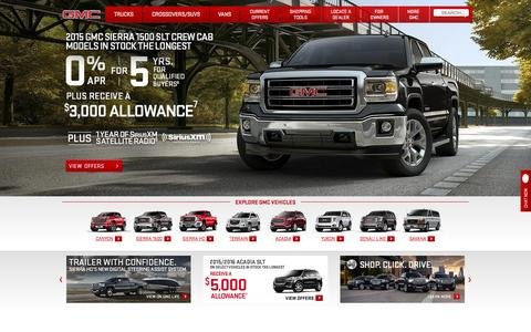 Screenshot of Home Page gmc.com - Trucks, Vans, SUVs and Crossover Vehicles | 2015 GMC Lineup - captured Oct. 23, 2015
