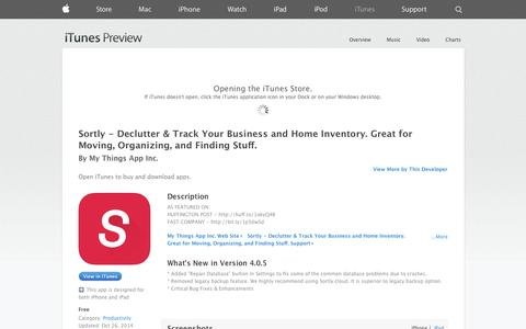 Screenshot of iOS App Page apple.com - Sortly - Declutter & Track Your Business and Home Inventory. Great for Moving, Organizing, and Finding Stuff. on the App Store on iTunes - captured Oct. 30, 2014