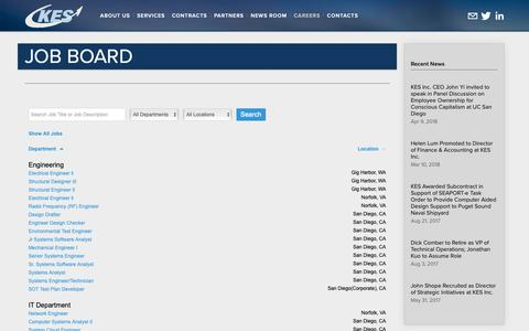 Screenshot of Jobs Page kes.com - Job Board — KES, Inc. - An Employee Owned Company - captured Oct. 14, 2018