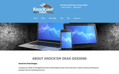 Screenshot of About Page knockemdeaddesigns.com - About Knock'em Dead Designs and what we do Web Design, Branding and SEO - captured Sept. 30, 2014