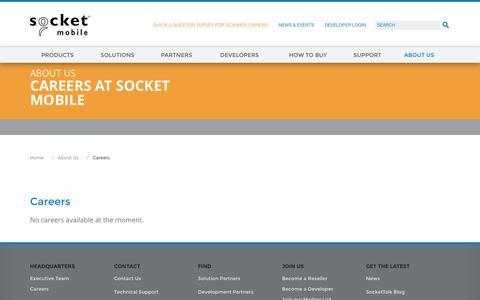 Screenshot of Jobs Page socketmobile.com - Socket Mobile | Careers - captured Sept. 23, 2016