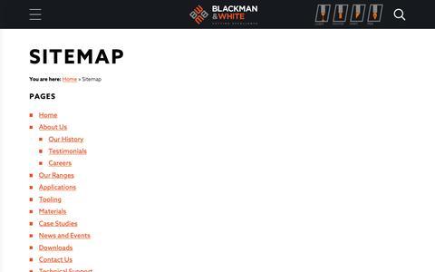 Screenshot of Site Map Page blackmanandwhite.com captured Nov. 6, 2018