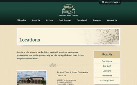 Screenshot of Locations Page heritagefuneralchapels.com - Heritage Funeral Homes • Peoria, El Mirage, Prescott, Casa Grande, Coolide, Florence, Chino Valley and Dewey, Arizona - captured Jan. 29, 2016