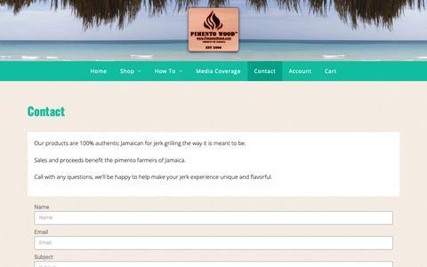Screenshot of Contact Page pimentowood.com - Contact - Pimento Wood - captured Sept. 30, 2018