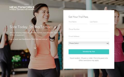 Screenshot of Trial Page healthworksfitness.com - Healthworks Fitness Free Trial Pass - captured Sept. 27, 2018