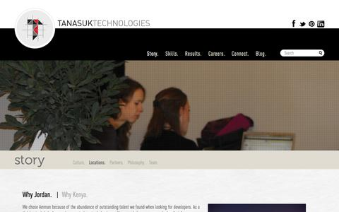 Screenshot of Locations Page tanasuk.com - Tanasuk Technologies - Our offices are in Amman and Nairobi, regional tech hubs with skilled .Net developers. - captured Oct. 26, 2014