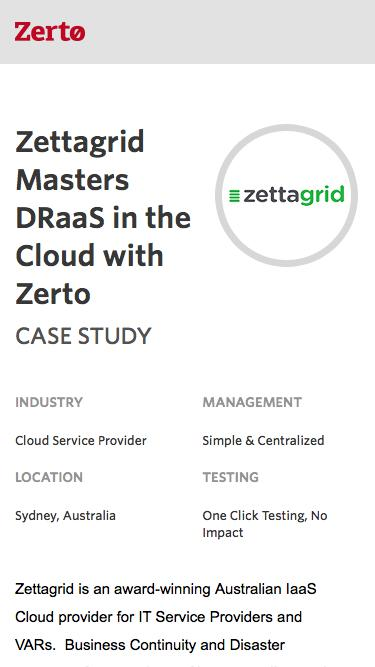 Zettagrid Masters DRaaS in the Cloud with Zerto