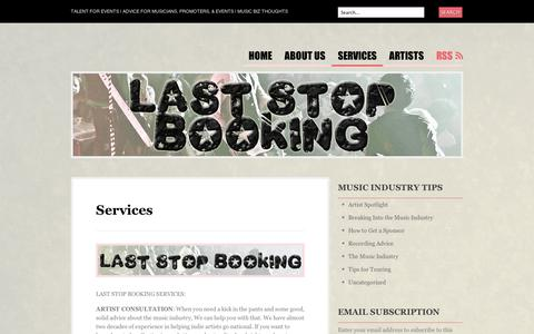 Screenshot of Services Page wordpress.com - Services | Last Stop Booking - captured Sept. 12, 2014