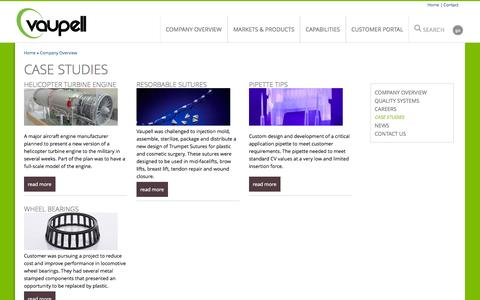 Screenshot of Case Studies Page vaupell.com - Case Studies   Vaupell   Specializing in design, rapid prototyping, injection molding, and beyond - captured Oct. 29, 2014