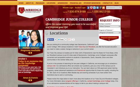 Screenshot of Locations Page cambridge.edu - Sacramento-Area Career Colleges - Yuba City, Woodland | Cambridge Junior College - captured Oct. 1, 2014