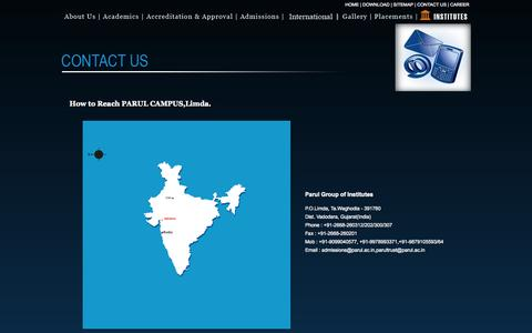 Screenshot of Contact Page parul.ac.in - :: Parul Group of Institutes :: - captured Sept. 23, 2014