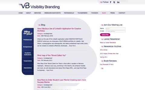 Screenshot of Blog visibilitybranding.fr - Blog | Visibility Branding - captured Oct. 9, 2014