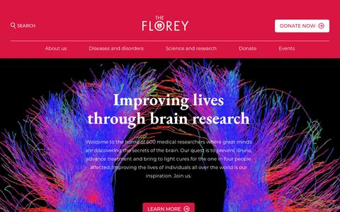 Screenshot of Home Page florey.edu.au - The Florey Institute of Neuroscience and Mental Health - Florey - captured June 26, 2018