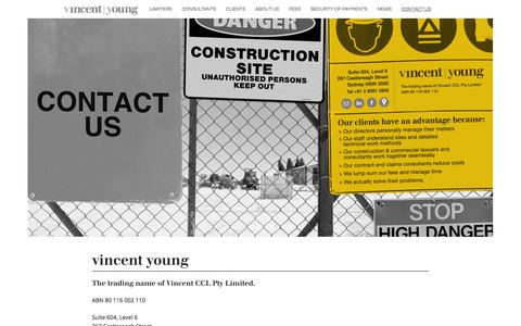 Screenshot of Contact Page vincentyoung.com.au - Contact Us - Vincent Young - captured Oct. 26, 2014