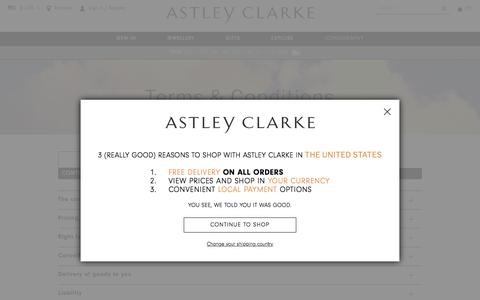Screenshot of Terms Page astleyclarke.com - Terms & Conditions | British Fine Jewellers | Astley Clarke London - captured May 9, 2017