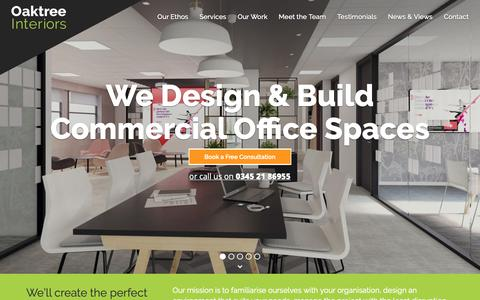 Screenshot of Home Page oaktreeoffice.com - Office Design Services | Oaktree Interiors Ltd - captured Oct. 18, 2018