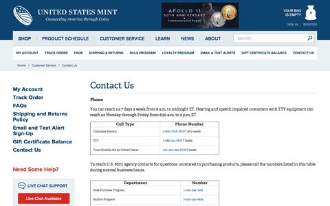 Screenshot of Contact Page usmint.gov - Contact Us - Official US Mint Store - captured July 17, 2019
