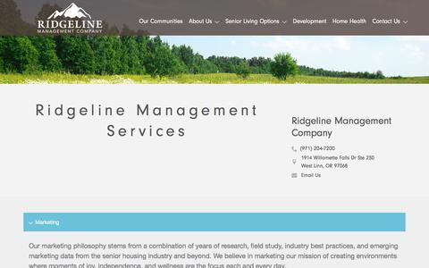 Screenshot of Services Page ridgelinemc.com - Services for Ridgeline Management Company - captured Oct. 10, 2017