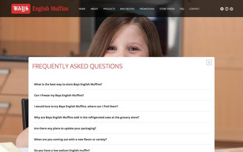 Screenshot of FAQ Page bays.com - Bays English Muffins: Frequently Asked Questions - captured Oct. 10, 2017