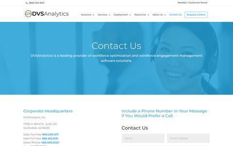 Screenshot of Contact Page dvsanalytics.com - Contact Us • DVSAnalytics - captured Oct. 9, 2018