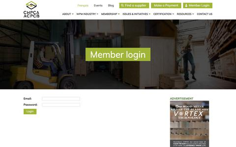 Screenshot of Login Page canadianpallets.com - CWPCA – Connect to the CWPCA member area - captured Sept. 26, 2018