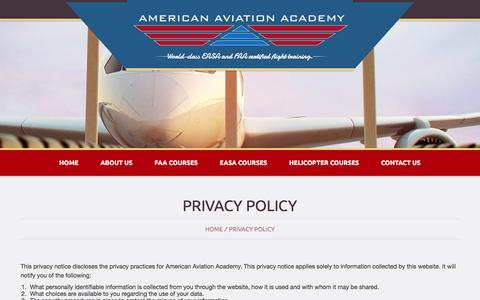 Screenshot of Privacy Page flyaaa.com - Privacy Policy - American Aviation AcademyAmerican Aviation Academy - captured Feb. 6, 2016