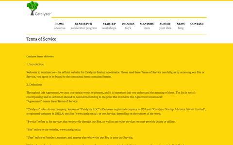 Screenshot of Terms Page catalyzer.co - Catalyzer Startup Accelerator - Startup Commune - captured Nov. 1, 2014