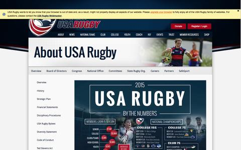 Screenshot of About Page usarugby.org - Overview - captured Jan. 10, 2016