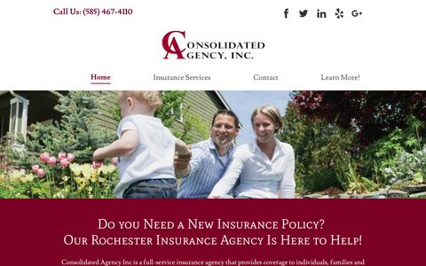Screenshot of Home Page consolidatedagencyinc.com - Insurance Agency | Rochester, NY | Consolidated Agency, Inc. - captured July 21, 2018