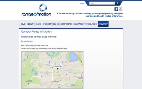 Screenshot of Contact Page rangeofmotion.net.au - Contact Range of Motion | Range Of Motion - captured Oct. 7, 2014