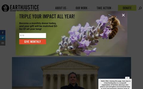 Screenshot of About Page earthjustice.org - Our Story | Earthjustice - captured Sept. 19, 2019