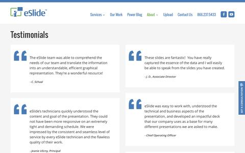 Screenshot of Testimonials Page eslide.com - Read eSlide Reviews from Clients   eSlide - captured July 18, 2016