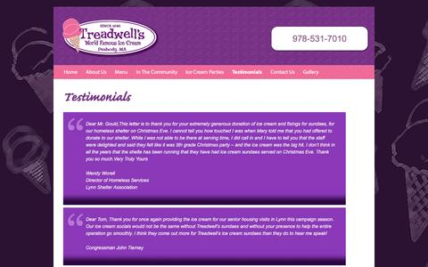 Screenshot of Testimonials Page mytreadwells.com - Read testimonials from customers in Peabody and communities north of Boston || Treadwells - captured June 23, 2016